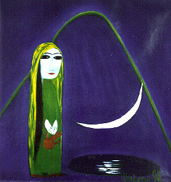 Another primitive folklore theme showing a woman visiting a well to gather water beneath a new moon.